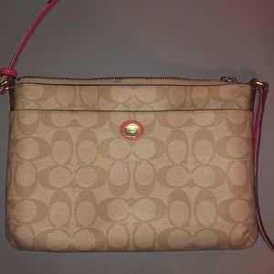 Tan and Pink Coach Purse